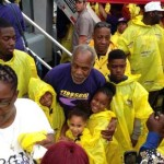 Danny Glover with family at rally